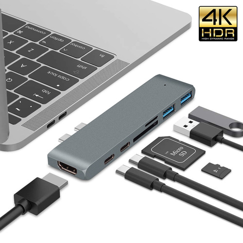7-in-1 USB C Hub, Dual Type-C Hub Adapter with HDMI